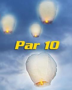 10 Lanternes volantes porte-bonheur blanches
