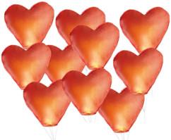 10 Lanternes volantes porte-bonheur en forme de coeur