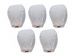 5 Lanternes volantes porte-bonheur blanches