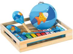 Instruments de musique en bois: Xylophone, tambourin et 2 maracas