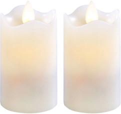 2 bougies à LED scintillante, cire véritable - 7,5 cm