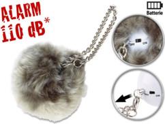 alarme de poche anti agression avec fourrure de décoration grise