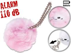 alarme de poche anti agression avec fourrure de décoration rose