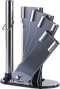 Bloc à couteaux et fusil d'aiguisage modulable en verre acrylique (4 couteaux)