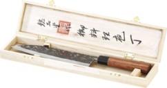 Couteau de cuisine grande lame forgée main et manche en bois