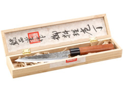Couteau Santoku avec lame forgée main et manche en bois