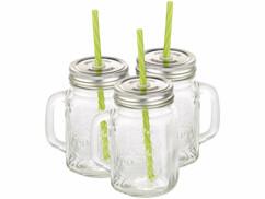 Lot de 3 verres rétro avec anse, paille et couvercle