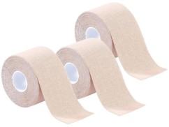 Pack de 3 bandes de kinésiologie pour sport (5 m) - Beige chair