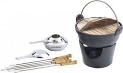 Service à fondue en fonte, style asiatique