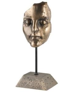 Statuette décorative en résine aspect bronze - Visage de femme endormie