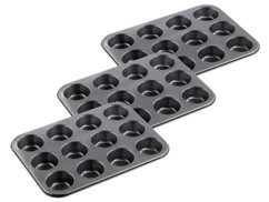 3 plaques de cuisson anti-adhésives pour 12 muffins ou cupcakes