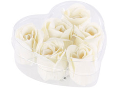 6 savons en forme de rose blanc crème dans un coffret cadeau