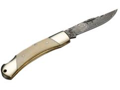 Couteau de poche en acier Damas 37 couches - manche en os