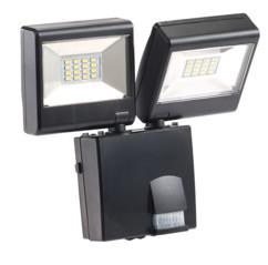 Double projecteur a led pour extérieur avec tete orientable avec detecteur de mouvement infrarouge et alimentation 230v luminea