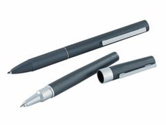 Ensemble roller et stylo à bille en métal satiné