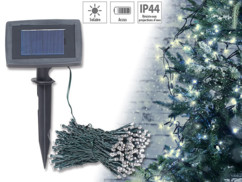 guirlande lumineuse etanche 20 m 200 led blanc froid avec chargeur solaire et detecteur d'obscurité lunartec