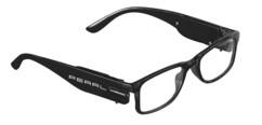 lunettes de lecture mixtes noires avec mini lampes LED et verres sans dioptrie avec batterie rechargeable