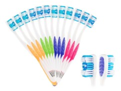 Pack de 12 brosses à dents 4 couleurs - Poils souples