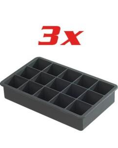 Pack de 3 bacs à glaçons en silicone - 3 X 3 cm