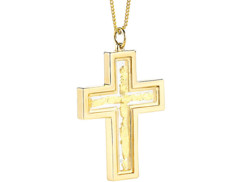 Chaîne & pendentif ''Croix'' avec feuille d'or 23 carats