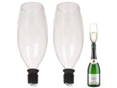 2 embouts pour bouteille en forme de flûte à champagne