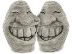 2 visages décoratifs ''Stone Smiley''