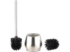 brosse wc toilettes chiottes classe avec socle inox en verre et brosse noire manche inox badestern
