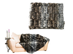 Couverture imitation fourrure léopard
