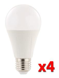 Pack de 4 ampoules LED 10 W E27 haute efficience énergétique - Blanc 6500 K