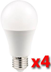 Pack de 4 ampoules LED 10 W E27 haute efficience énergétique - Blanc chaud