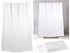 rideau de douche 2 m en tissu lavable motif blanc