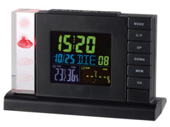 station meteo design avec affichage hologramme des previsions et horloge radiopilotée fws-310