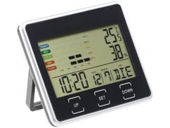 thermometre hygrometre digital avec horloge date et indications humidité confort intérieur