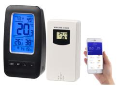 thermomètre connecté avec hygromètre capteur extérieur et application suivi météo et humidité infactory