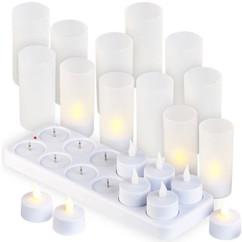12 Bougies chauffe-plat à LED avec photophore décoratif