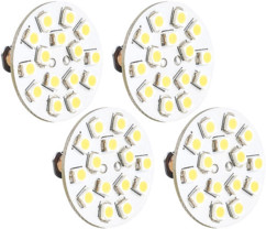 4 Ampoules 15 LED SMD G4 blanc chaud