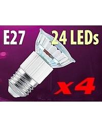 4 Ampoules 24 LED SMD E27 blanc chaud