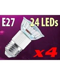 4 Ampoules 24 LED SMD E27 blanc neutre
