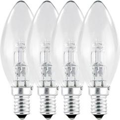 4 Ampoules bougie halogène E14 28 W