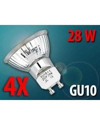 4 Ampoules halogènes réflecteur Gu10 28 W