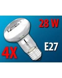 4 Ampoules réflecteur R63 halogène E27 28 W