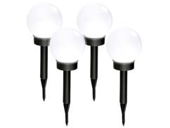 4 bornes lumineuses sphériques solaires à LED, Ø 20 cm, blanc lumière du jour