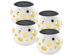 4 Lanternes à LED solaires blanches - modèle ''Bollos''