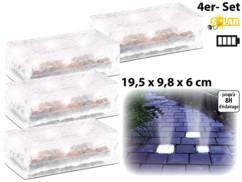 4 Pavés lumineux à LED solaires - 19,5 X 9,8 X 6 cm