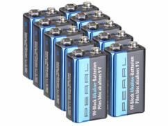 Pack de 10 piles alcalines 9 V type block.