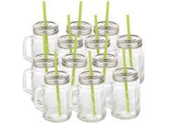 Lot de 12 verres rétro avec anse, paille et couvercle.