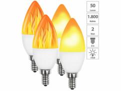 Lot de 4 ampoules LED E14 à effet flamme.