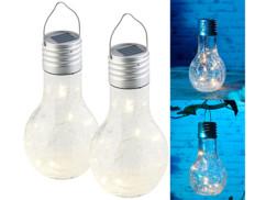 2 ampoules solaires à LED aspect craquelé avec capteur de luminosité