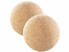 Lot de 2 balles de massage et d'exercice en liège de 10 cm de diamètre.