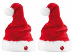 2 bonnets de Père Noël dansants et chantants